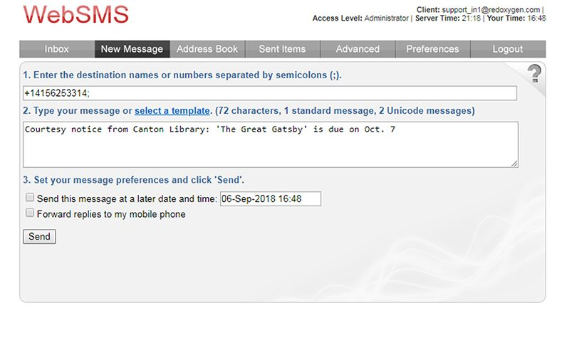 Web SMS Example